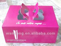 eco-friendly corrugated food paper box printing, good looking pink paper meal box for packaging