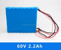 100% real capacity 18650 2.2ah li ion battery pack 16S1P 60v 2200mah unicycle battery
