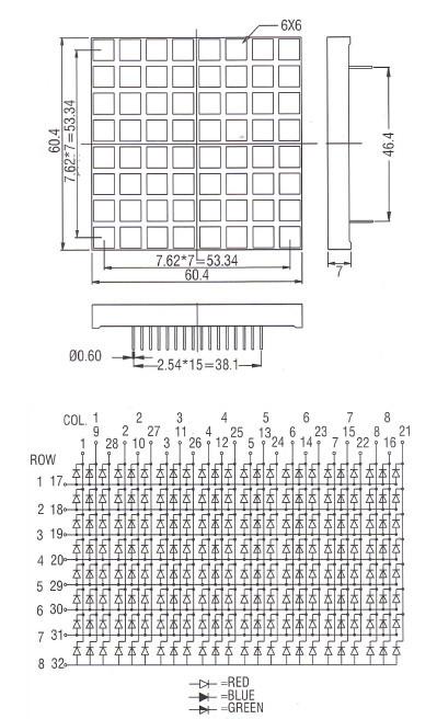 full color 5 mm 8x8 rgb dot matrix led display,60*60 dot matrix