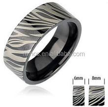 Black Ip Band With Zebra Print Black And Stainless Steel Comfort-fit Ring