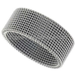 Stainless steel mesh Ring for man as gift with cheap cost