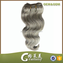 best selling products high quality virgin hair clip in hair extensions with gray