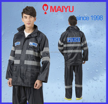 Maiyu reflective polyester pvc two piece vinyl raincoat for police