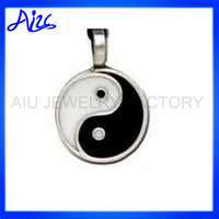 Chinese Character Silver YinYang Pendant Necklace