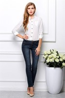 Leisure Big Yards Prevent Bask in Render Unlined Upper Garment Loose Collar Long Sleeves Chiffon Blouse