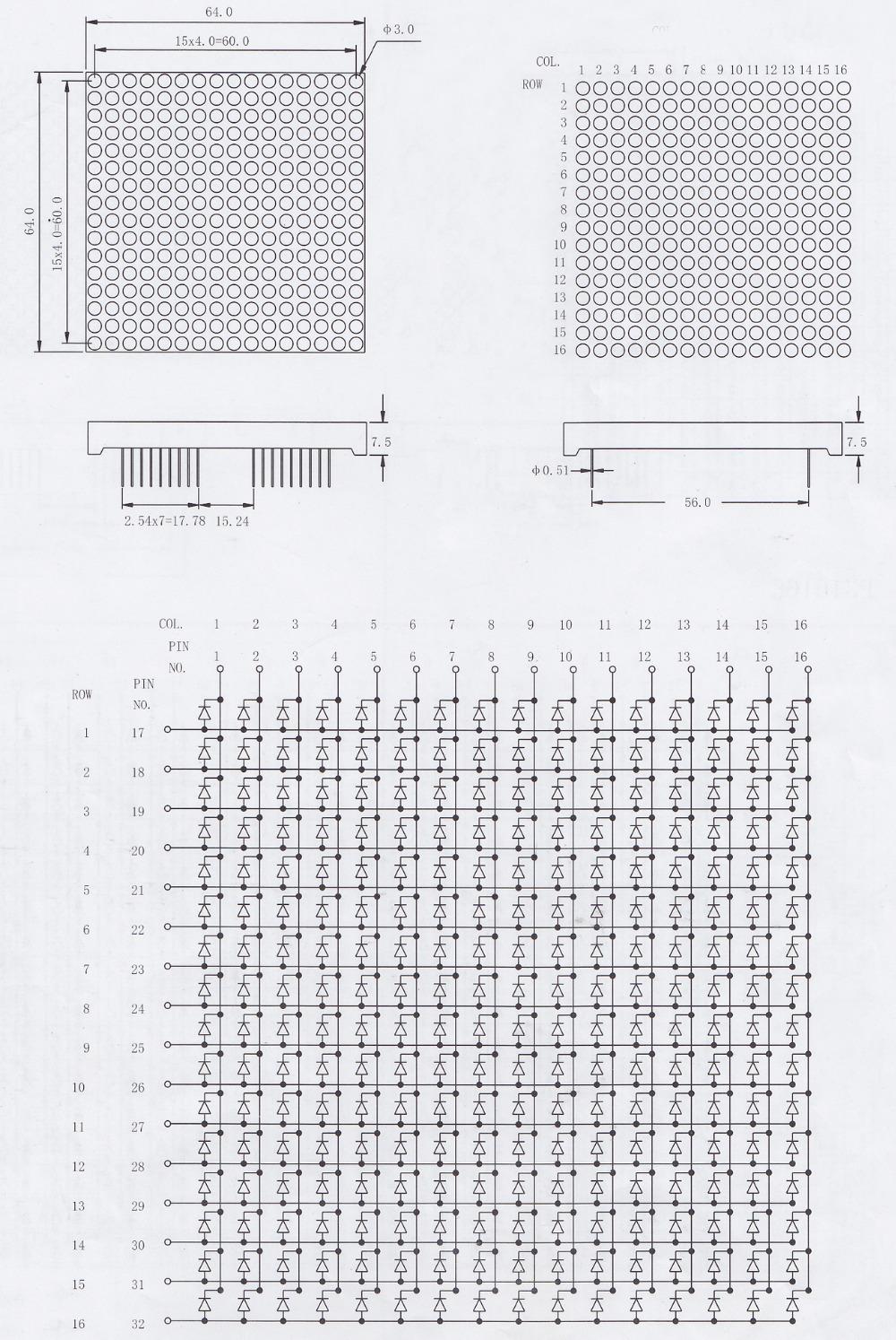 50x50mm Full color 1.8mm dot 16x16 dot matrix led display rgb 16x16 led matrix manufacturer