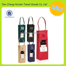 Custom Printed Portable Wine Bottle Carrier Gift Bag with PVC Clear Window