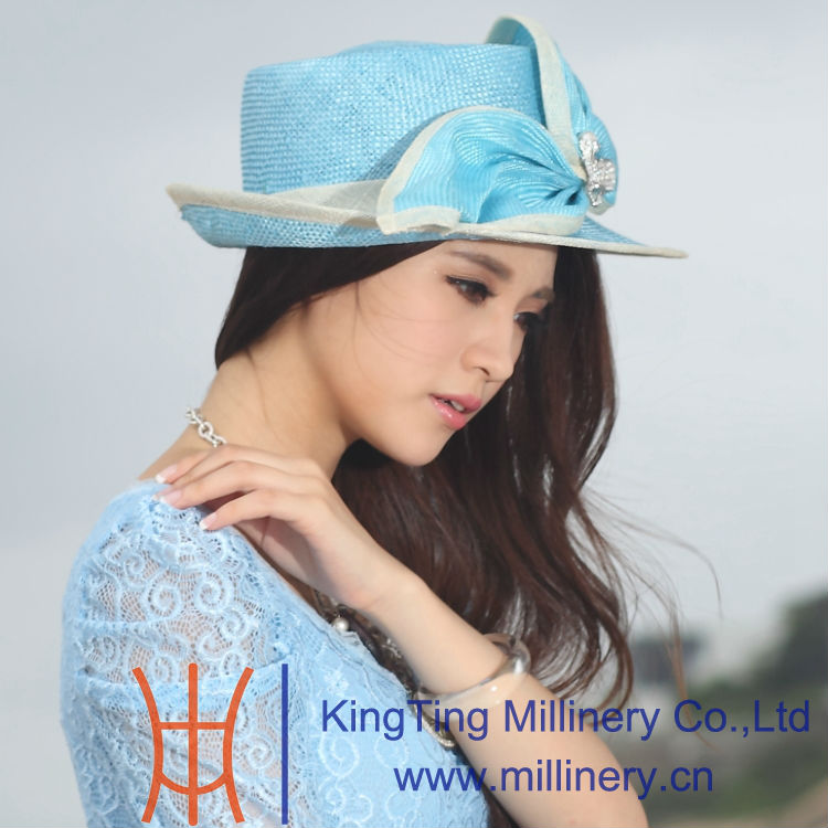 Handmade 100% Straw Hat wiht Top Design for Young Ladies