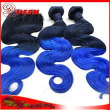 Beamyshair double weft 100% unprocessed virgin hair weft , blue hair weave color