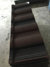 Red and black bond stone coated metal roofing tile