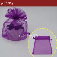 DCB-22 Purple organza bags drawstring pouches Gift Bags 22.8x18cm