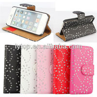 luxury shining diamond flip leather cover case for iphone5 5s with stand function