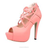 JUSITY pink ladies peep toe lace up high heels sandals women