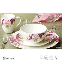 Porcelain flower printed purple square ceramic dinnerware set