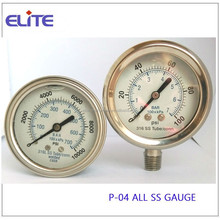 P-04 ALL SS GAUGE silicon filled or glycerine filled pressure gauge