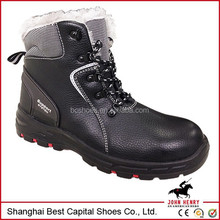 Black leather industrial safety shoe with rubber sole