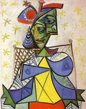 Wall pictures Seated woman with blue and red hat by Picasso