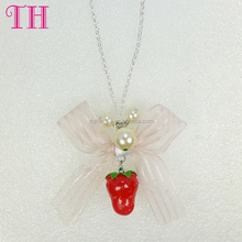 cheaper price kids resin strawberry shape organic decoration latest design beads necklace