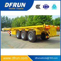DFRUN trailer manufacturer Tri-axle 60 Ton 40ft Container Flatbed Truck Trailer / flat bed container trailer with twist lock