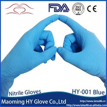 Hot selling 9 inch finger textured malaysia blue disposable nitrile gloves