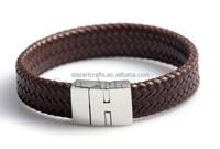 Small quantity wholesale fashion jewelry handmade weaving leather bracelet