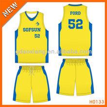 100% polyester cheap sporty basketball shirt