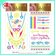 glitter popular used for party glow body sticker tattoos