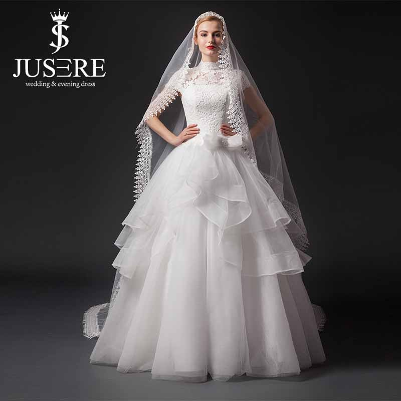 Tradicional gola alta Capsleeve rendas Top Latest nupcial do casamento vestidos Pictures 2015