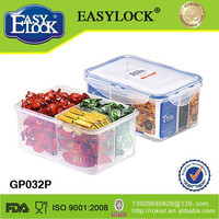 Plastic 3 food compartment box isolated-layer container 1200ML