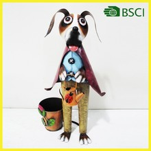 Special design dog home decoration for iron flower pot