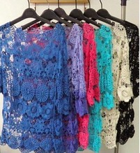 """Instyles <span class=""""wholesale_product""""></span> Women Blouse Spring Summer Crochet Lace Tops Hollow Out Lac Clothing"""