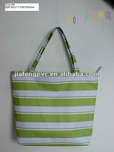 The Fresh Green and Pure White Stripe 600D Polyester Hand Bag with Zipper-Top