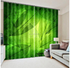 2015 Hottest fashion large photos green leaves 3D digital printing Curtain 100% shading office window curtain