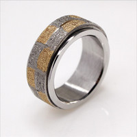 Yiwu Aceon silver and gold square sandblast spinner jewelry 316l surgical stainless steel ring