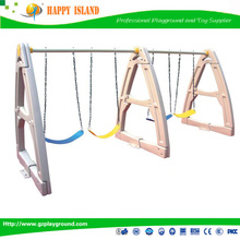 New Design Kids Plastic Outdoor Playground For Sale Plastic Three people Backyard Swing