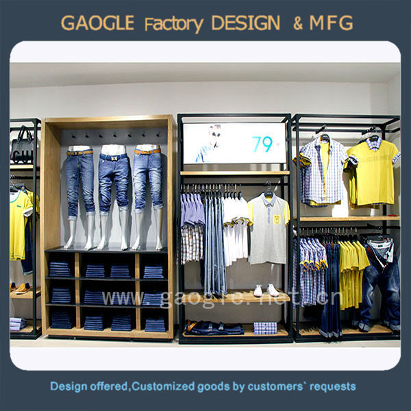 Modern design t shirt display fixtures for clothing store for A t design decoration co ltd