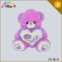 Cute And Lovely Stuffed Animal Baby Toys/ Purple Plush Bear With Heart