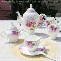 flower decal printed 24pcs 17pcs 22pcs porcelain ceramic tea set