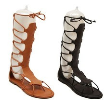 Lady lace up knee high gladiator sandals