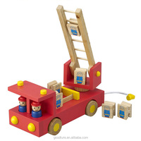 Wooden Fire Engine Fire Fighting Truck Roll Playing Game