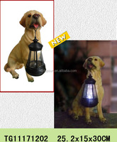 Lantern dog statues for polyresin solar garden light