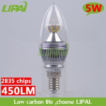 2015 latest led candle light 4W 5W dimmable 180V-240V silver candle light