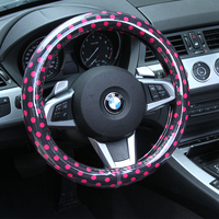 Car steering wheel cover Handle cover Black and pink Dot Polyester fabric white T.P.E tube S size Japan