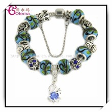 Girls fine murano beads bracelet with cute animal charms bead bracelet