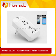 Wi-Fi Smart Wall Socket - Remote Controlled Via Internet/LAN, Android + iOS Supported, 3 Ports, EU Power Supply