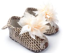 2015 estilo Popular zapatos del Prewalker del bebé de las muchachas de flor de los zapatos de leopardo