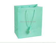 Blue paper gift jewelry shopping paper bag , pp rope draw string paper gift bag