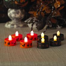 "Halloween Decor ""Witch""""Pumpkin""""Bat""Printed Flickering Flameless LED 1.5""x1.5"" Tea Light Candle"