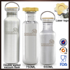 Traveling outdoor durable single wall metal drinking bottles custom with bamboo lid