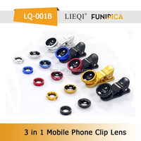 100% fit for smartphone universal clip lens 3-in-1 fish eye lens+wide angle+Macro lens